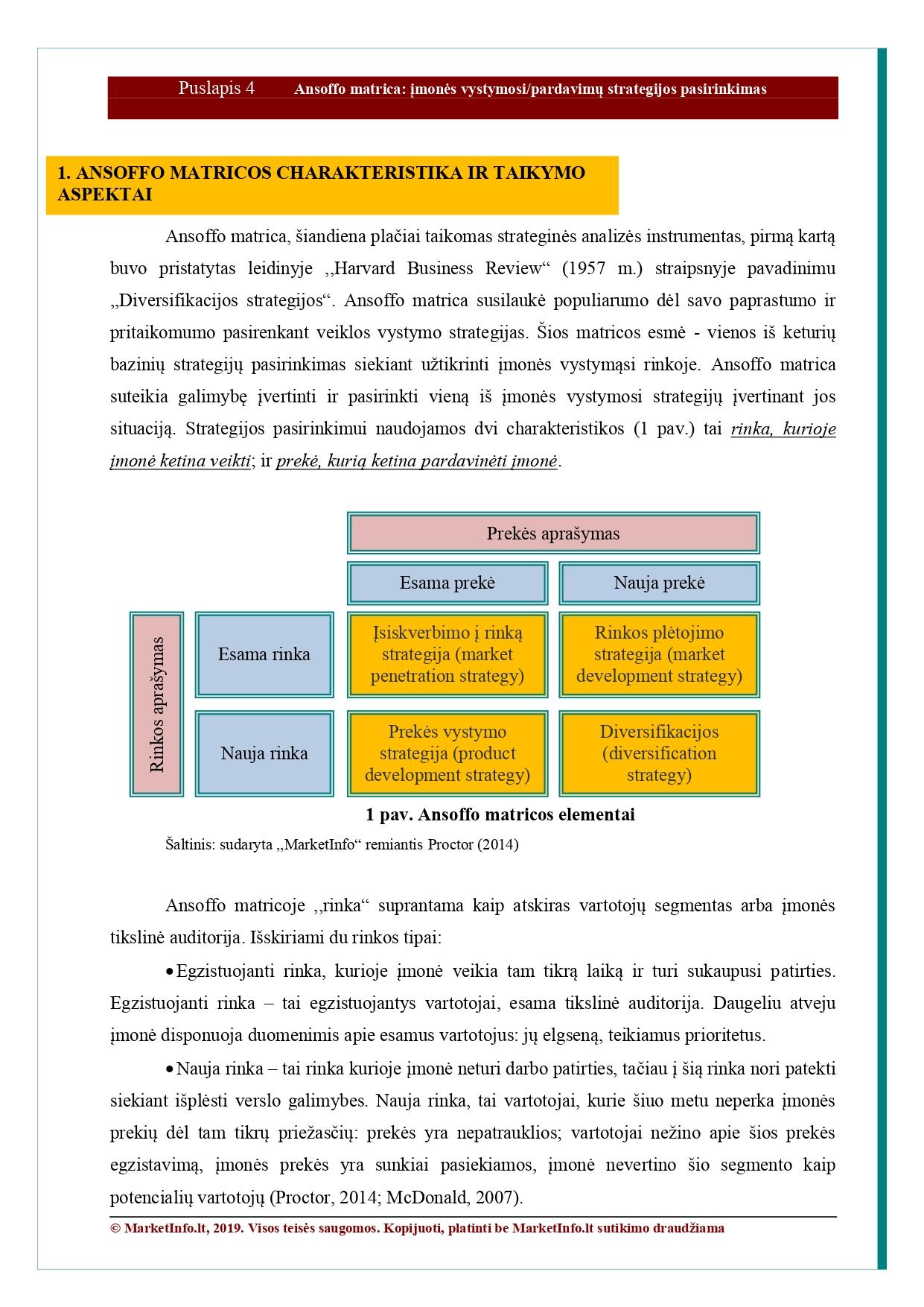 diversifikacijos strategija ansoff matrica
